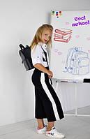 Брюки-кюлоты черные лампас белый на девочку-подростка рост 134-170