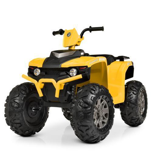 Детский электромобиль Квадроцикл M 4246 EL-6, кожаное сиденье, колеса EVA, музыка, свет, желтый