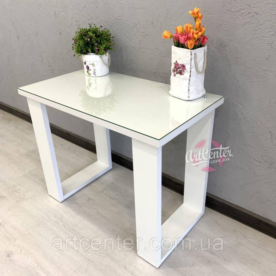 Стол для маникюра, офисный стол со стеклом на столешнице