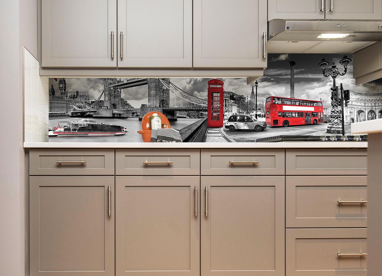 Кухонний фартух Тауерський міст фотодрук плівка для стін символи Англії Лондон автобус 600*2500 мм