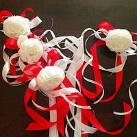 Свадебные украшения на ручки автомобиля (цвет красный), 4 шт