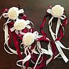 Свадебные украшения на ручки автомобиля (цвет бордовый), 4 шт