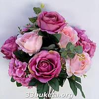 Искусственные цветы Роза 2-х цветная с гортензией и эвкалиптом не пресс.