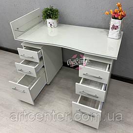 Маникюрный стол на колесиках и стеклом на столешнице