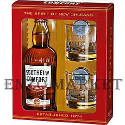 Ликер Southern Comfort (Саузен Комфорт со стаканами) 35%, 1 литр