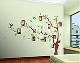 Интерьерная наклейка  на стену Дерево коричневое с фоторамками  (отличное качество), фото 6