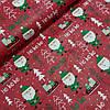 Ткань с Санта Клаусами и ёлочками на красном фоне, ширина 160 см