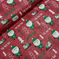 Ткань с Санта Клаусами и ёлочками на красном фоне, ширина 160 см, фото 1