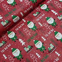 Тканина з Санта Клаусами і ялинками на червоному тлі, ширина 160 см, фото 1