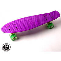 """Penny Board """"Fish"""" Фиолетовый цвет. Светящиеся колеса."""