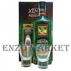 Абсент Xenta Giftset (Абсент Ксента + 2 стакана и ложка) 70%, 1 литр