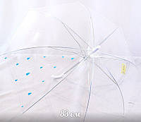 Зонт детский трость, прозрачный купол 83 см