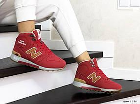 Женские кроссовки красные кожа нубук, фото 3