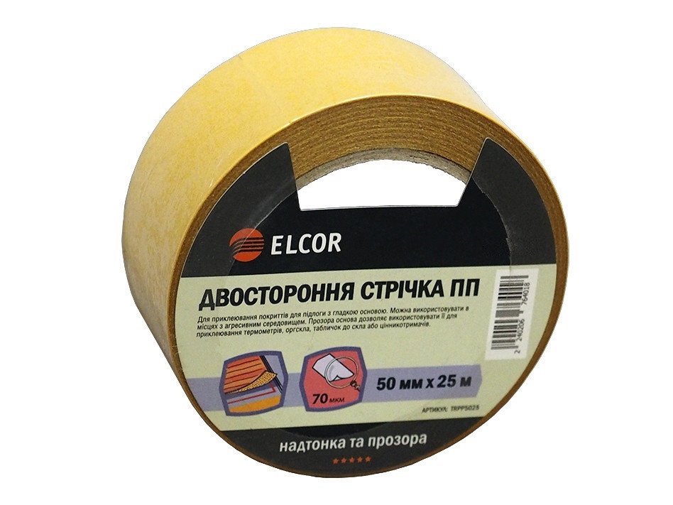 Двусторонняя лента ELCOR TRPP5025 50мм * 25м на полипропиленовой основе