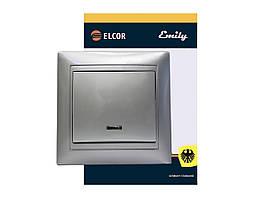 Вимикач ELCOR 1-й з підсвіткою Emily 9215 сірий металік
