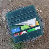 Кошелек 10 cards зеленый из натуральной кожи crazy horse, фото 7