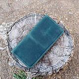 Кошелек 10 cards зеленый из натуральной кожи crazy horse, фото 9