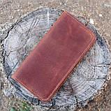 Кошелек 10 cards коньячный из натуральной кожи crazy horse, фото 3