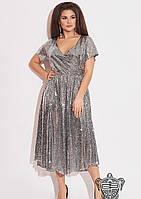 / Размер 48-50,52-54,56-58 / Женское вечернее платье с пайетками 33205 / серебро