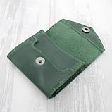 Портмоне vova зеленый из натуральной кожи crazy horse, фото 3