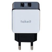 Сетевой адаптер СЗУ TakeIt (2 USB/2A) 5V бело-черный