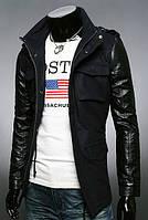 Мужская черная куртка из кашемира с рукавами из утепленной эко-кожи, фото 1