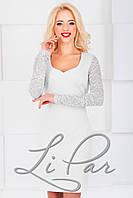 Женское нарядное платье с гипюровой спинкой Lipar Белое