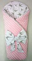 """Зимний  конверт-одеяло на выписку  """"Ласточка""""  Розовый"""