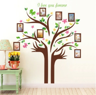 Декоративная  наклейка  - дерево с фоторамками  (172х145см)