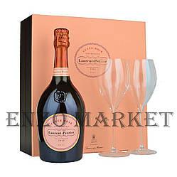 Подарочный набор Laurent Perrier Rose Brut Giftset (Лоран Перье Роуз со стаканами) 12%,  0,75 литра