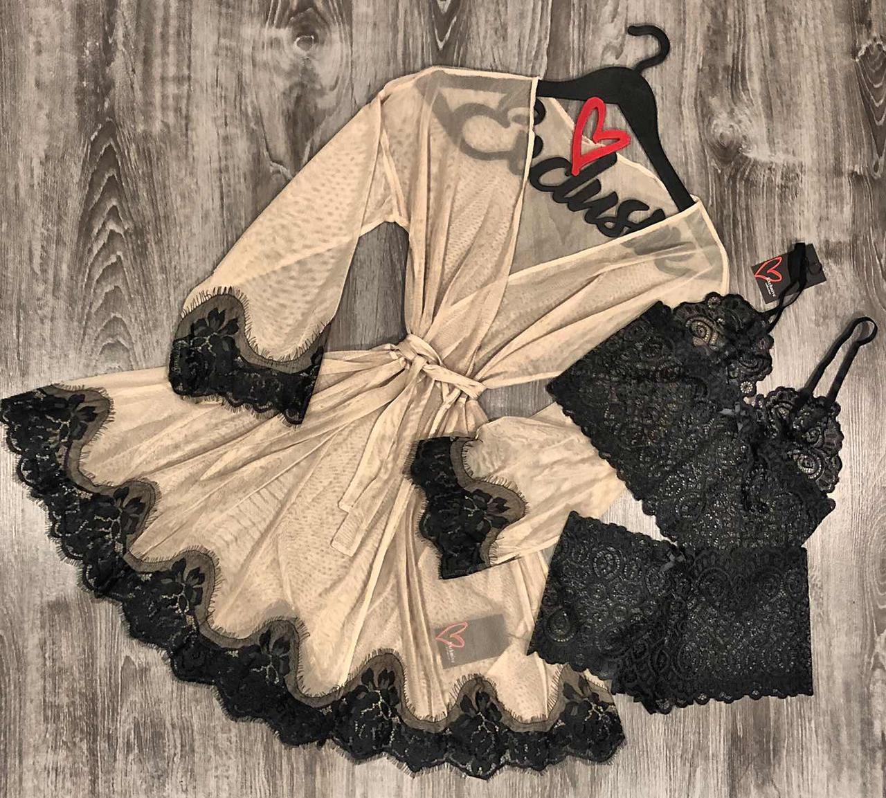 Халат из микросетки +комплект нижнего белья, домашняя одежда.