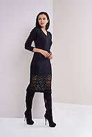 Женское вязаное платье  Лилиан 4545 M черный