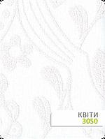 Ткань Квіти с белая с узором