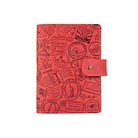 """Шкіряне портмоне для паспорта / ID документів HiArt PB-02/1 Shabby Red Berry """"let's Go Travel"""", фото 1"""