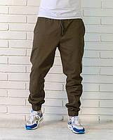 Хлопковые летние брюки джоггеры оливкового цвета, фото 1