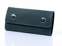 Зелена шкіряна ключниця з кріпленням на карабіні, фото 1