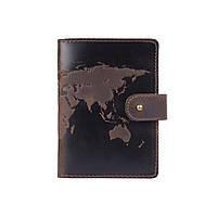"""Шкіряне портмоне для паспорта / ID документів HiArt PB-02/1 Shabby Gavana Brown """"World Map"""", фото 1"""