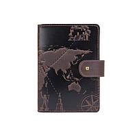 """Шкіряне портмоне для паспорта / ID документів HiArt PB-03S/1 Shabby Gavana Brown """"7 wonders of the world"""", фото 1"""