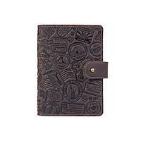 """Шкіряне портмоне для паспорта / ID документів HiArt PB-03S/1 Shabby Gavana Brown """"let's Go Travel"""", фото 1"""