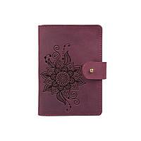 """Шкіряне портмоне для паспорта / ID документів HiArt PB-03S/1 Shabby Plum """"Mehendi Classic"""", фото 1"""