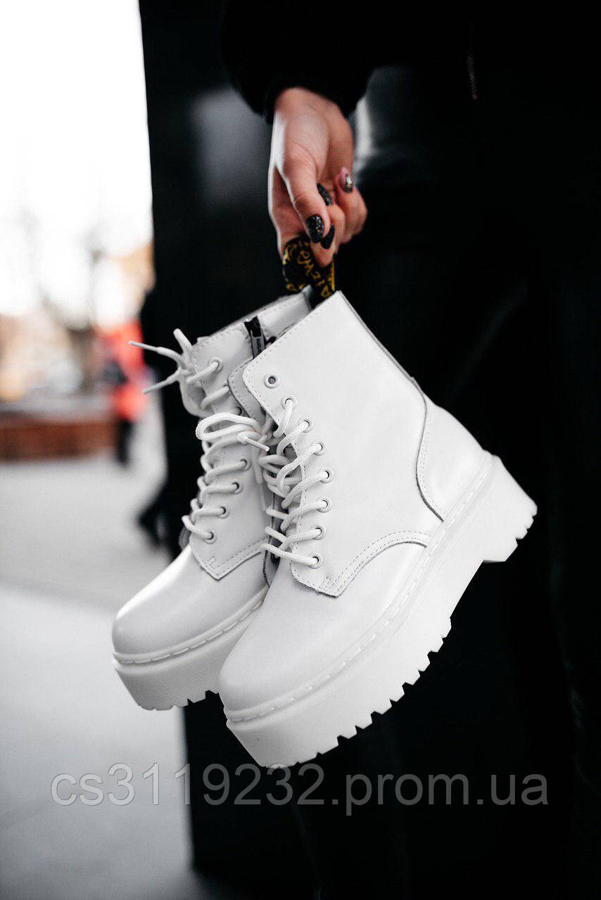 Жіночі черевики зимові Dr.Martens JADON (хутро) (білі)