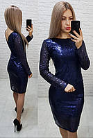 Платье нарядное на новый год с открытой спинкой арт. 184 темно синее / синего цвета / синий, фото 1