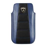 Чехол для телефона Lamborghini Gallardo D1 leather sleeve for iPhone 4, black/blue