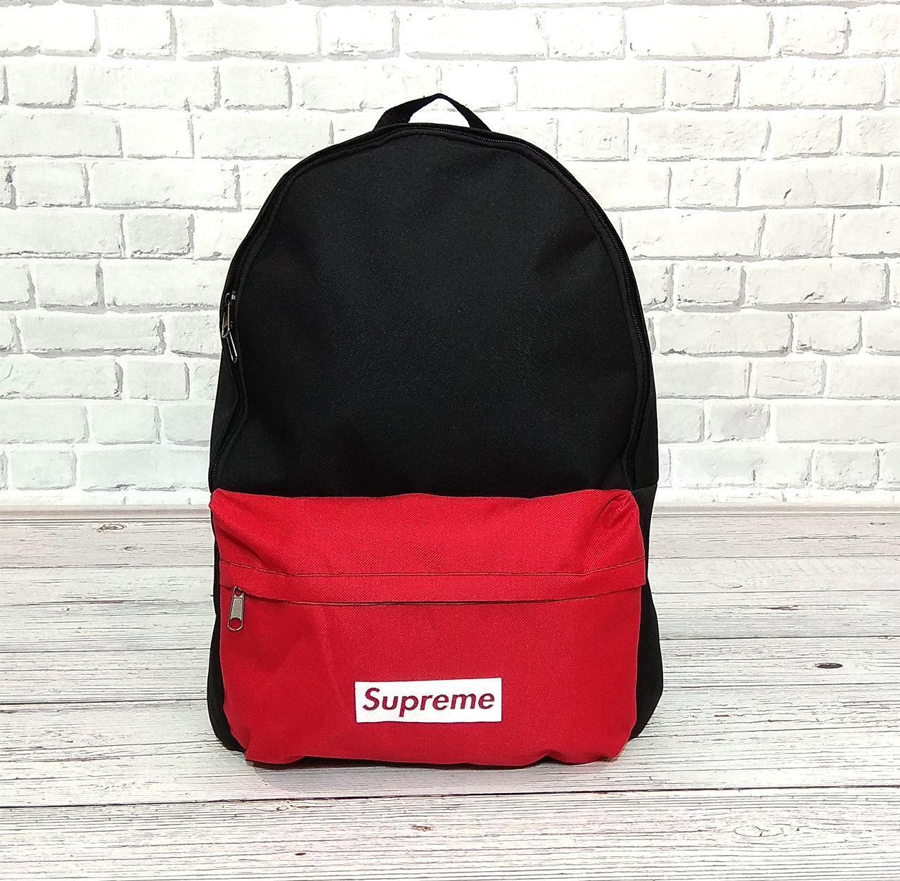 Молодежный городской, спортивный рюкзак, портфель суприм, Supreme. Черный с красным.
