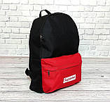 Молодежный городской, спортивный рюкзак, портфель суприм, Supreme. Черный с красным., фото 7