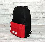Молодежный городской, спортивный рюкзак, портфель суприм, Supreme. Черный с красным., фото 8