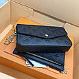 Клатч люкс реплика Луис Виттон FÉLICIE POCHETTE с кардхолдером в комплекте #9003 Черный, фото 5