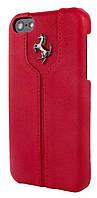 Кожаный чехол-накладка для телефона Ferrari Montecarlo leather cover case for iPhone 5C, red (FEMTHCPMRE)