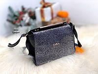 Черная маленькая женская сумочка через плечо блестящая небольшая брендовая сумка блеск кожзам, фото 1