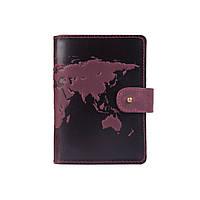 """Шкіряне портмоне для паспорта / ID документів HiArt PB-03S/1 Shabby Plum """"World Map"""", фото 1"""
